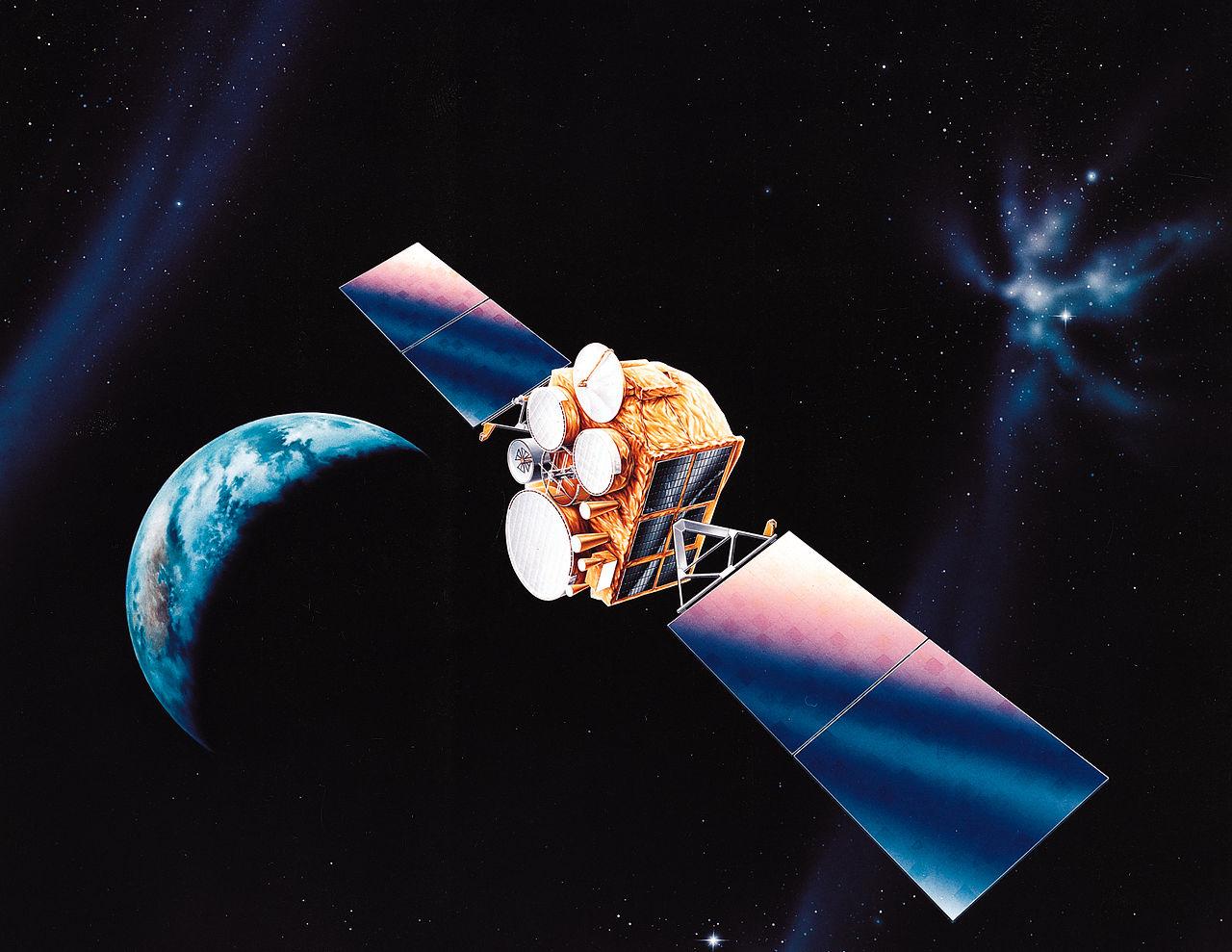 Modell eines modernen Kommunikationssatelliten